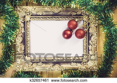 Stock Fotografie Weihnachtsdeko Mit Bilderrahmen Auf Holzern