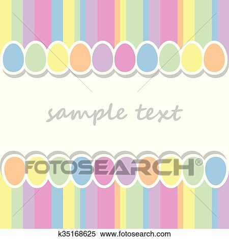 Baby Postcard Background With Two Lines Of Easter Eggs And Vertical Stripes In Pastel Colors