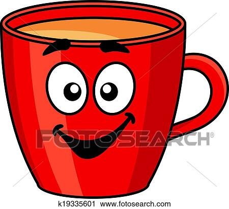 Colore Rouges Dessin Anime Grande Tasse Cafe Clipart K19335601 Fotosearch
