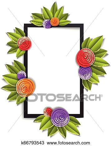 Flowers And Leaves Beautiful Background Or Frame With Blank