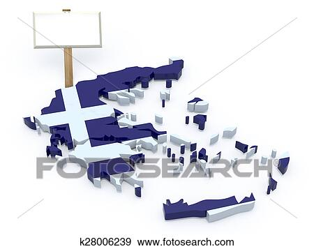 Stock Illustration Of Greece 3d Map With Blank Signboard K28006239