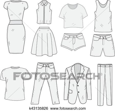 clip art of men s and women s clothing set sketch clothes hand
