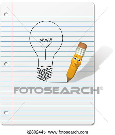 Stock Illustration Of Pencil Cartoon Drawing Light Bulb On Notebook