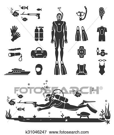 clip art of scuba diving equipment k31046247 search clipart