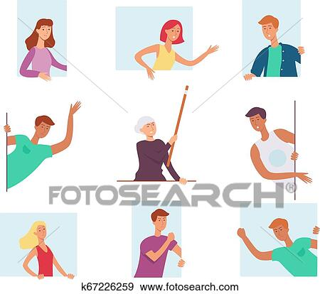 Set of people, looking out the window and expressing strong emotions, shout  and wave their hands  Clip Art