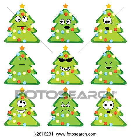 Cartoon Christmas Trees Set With Different Emotions Clip Art K2816231 Fotosearch