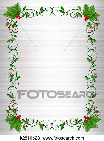 drawing of christmas holly border ornamental k2810523 search