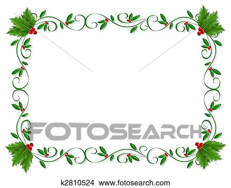 drawings of christmas holly border ornamental on k2810524 search rh fotosearch com Small Christmas Clip Art Border christmas holly clip art borders