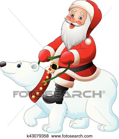 Clipart Dessin Anime Pere Noel Equitation Ours Blanc K43079358