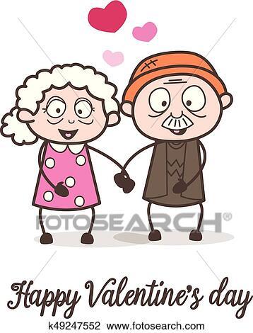 Clipart dessin anim vieillesse amour salutation - Clipart amour ...