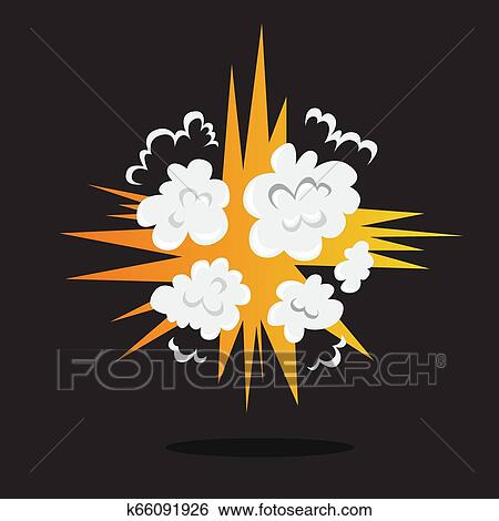 Explosive boom effect  Smoke from the bomb Clip Art