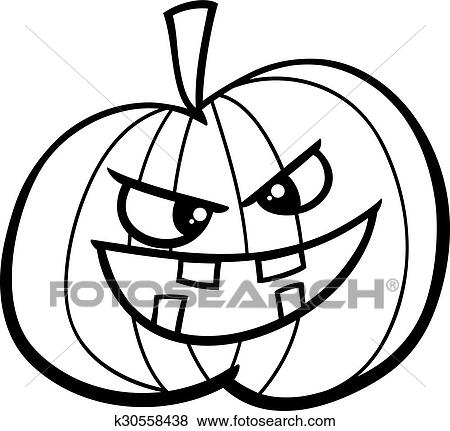 Clip Art Of Jack O Lantern Coloring Page K30558438