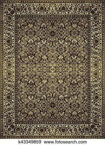 Persian Carpet Texture Abstract Ornament Round Mandala Pattern Middle Eastern Traditional