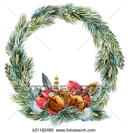 Christmas Wreath Clipart.Raster Watercolor Christmas Wreath Clipart