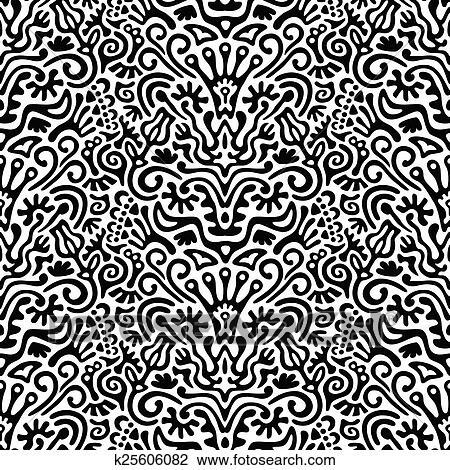 Rigolote Noir Blanc Seamless Modèle Fond à Fleurs Feuilles Couronne Oeuf Clã Etc Dessin