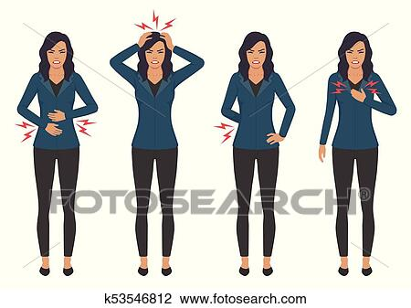 Clipart Of Sick Woman With Ache Problems Head Chest Back And