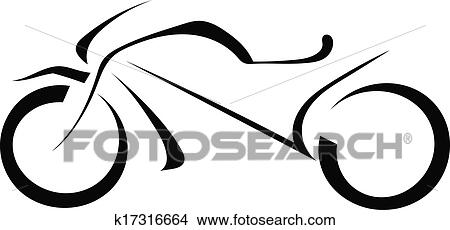 Silhouette Of A Motorcycle On A White Background Clipart K17316664