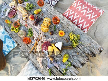 Beach Picnic Table Stock Photograph