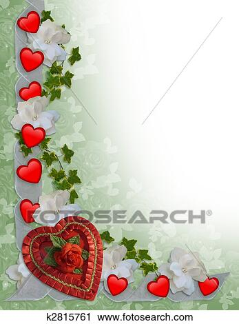 Clipart Of Valentines Day Border Hearts And Ribbons K2815761
