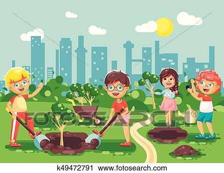Vecteur Illustration Dessin Animé Caractères De Enfants Garçon Fille Planter Dans Jardin Seedlings De Arbre Petit Enfant à Eau Geek