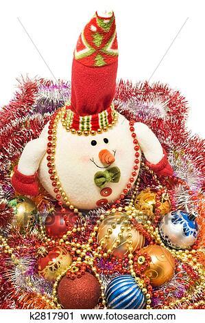 Weihnachten Grüße Bilder.Weihnachten Grüße Lustig Weiß Schneemann Und Deko Kugeln Stock Bild