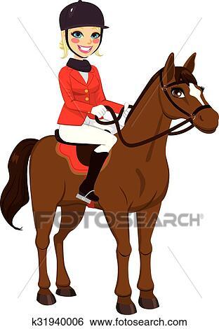 Clipart questre girl cheval k31940006 recherchez des cliparts des illustrations des - Clipart cheval ...