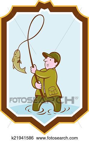 صياد الذبابة Fish عن ترنح حجاب واق رسم كاريكتوري Clip Art K21941586 Fotosearch