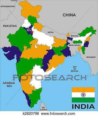 インド 地図 イラスト K2820798 Fotosearch