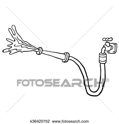 Clipart   Black And White Faucet With Garden Hose. Fotosearch   Search Clip  Art,