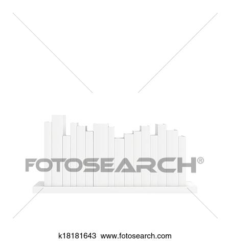 Drawing Of Bookshelf With Books Isolated On White Background