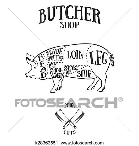 Butcher Cuts Scheme Of Pork Clipart