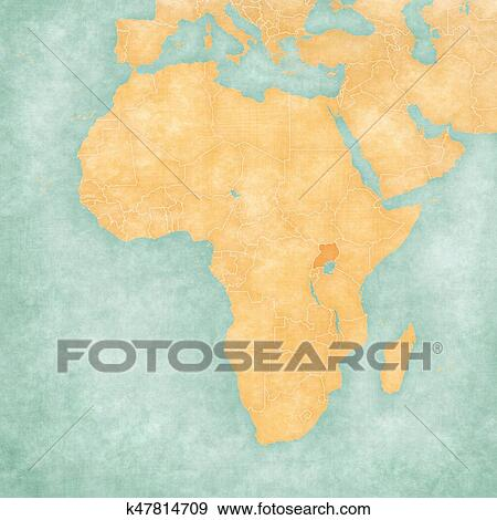 Carte Afrique Ouganda.Carte De Afrique Ouganda Banque D Illustrations