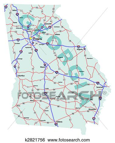 Stock Illustration of Georgia State Interstate Map k2821756 - Search ...