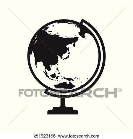 Australia Map Icon.Globe Icon With Asia And Australia Map Vector Illustration Clip Art