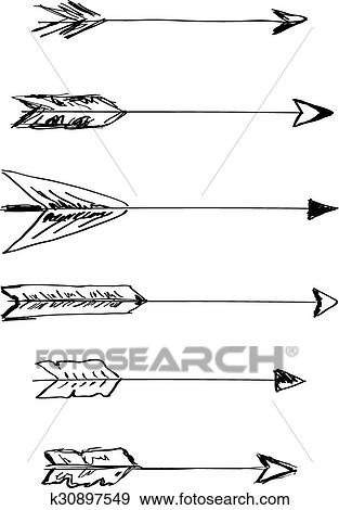 Hand Drawn Vector Arrows With Feathers Clip Art K30897549 Fotosearch