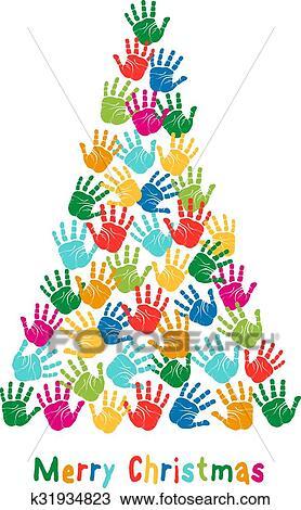 Colorful Christmas Tree Vector.Handprint Christmas Tree Vector Clipart
