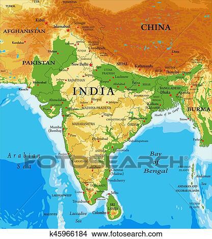 India Politica Cartina.India Relief Mappa Clipart K45966184 Fotosearch