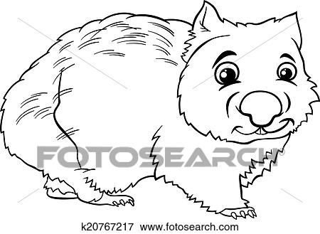clip art wombat animal cartoon coloring book fotosearch search clipart illustration posters