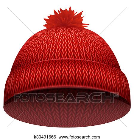 Stock Illustration - Knitted woolen cap. Winter seasonal red hat. .  Fotosearch - Search 90c6e7562dcf
