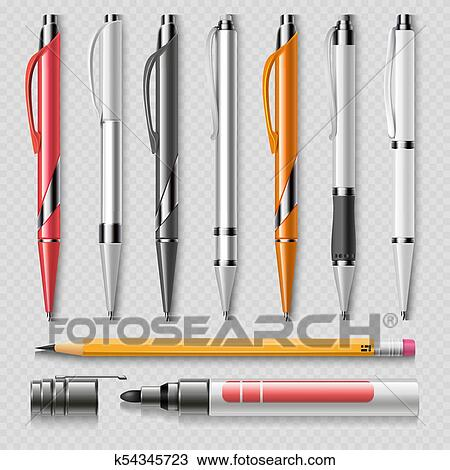 Clipart Of Realistic Office Stationery Isolated On Transparent