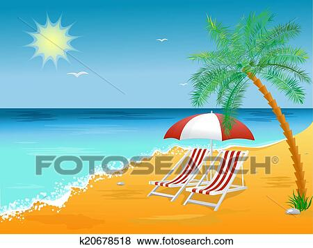 Clip Art Summer Holidays Beach Background Poster With Chair Fotosearch Search Clipart