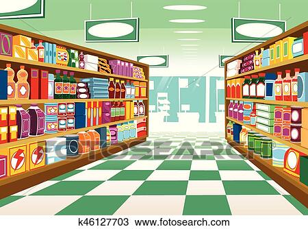 Full Grocery Cart Clipart Clipart of Supermarket...