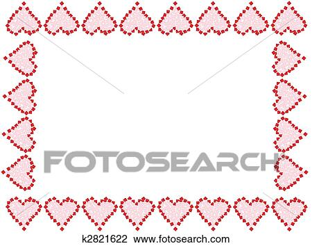 Stock Photo of Valentine heart frame or border k2821622 - Search ...