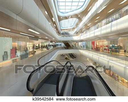 Drawings Of 3d Illustration A Shopping Mall K39542584
