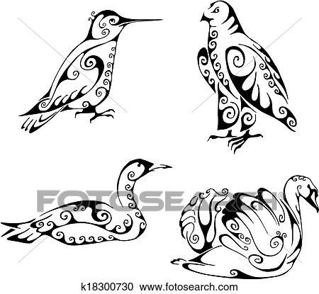 508758ba3e73b Birds in tribal style Clipart | k18300730 | Fotosearch