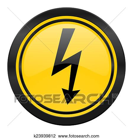 Bolt Icon Yellow Logo Flash Sign Drawing K23939812 Fotosearch