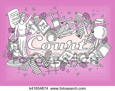 Clipart - conjunto, ley, y, justicia, vector, libro colorear ...
