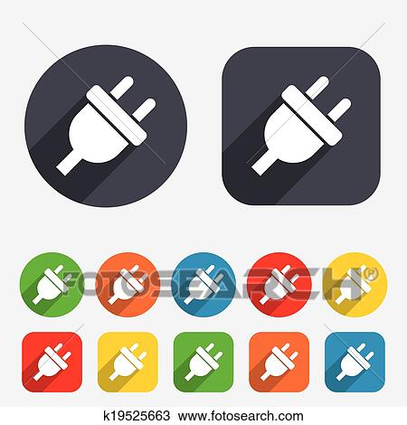 Clipart Of Electric Plug Sign Icon Power Energy Symbol K19525663