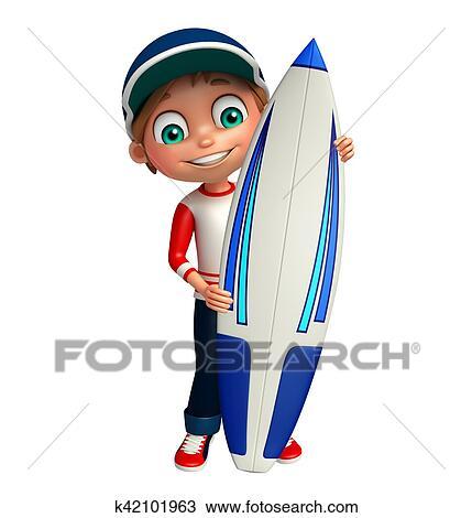 Gosse Garcon A Planche Surf Dessin K42101963 Fotosearch