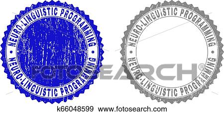 Grunge NEURO LINGUISTIC PROGRAMMING Stamp Seals Isolated On A White Background Rosette With Texture In Blue And Gray Colors
